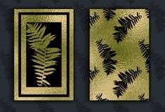 与热带叶子的金花卉卡片模板 向量例证