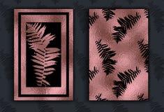 与热带叶子的金花卉卡片模板 库存例证