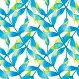 与热带叶子的水彩无缝的样式 库存图片
