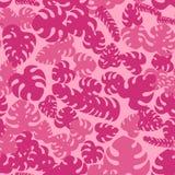与热带异乎寻常的桃红色叶子的无缝的墙纸 皇族释放例证