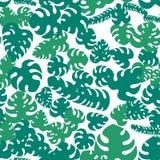 与热带异乎寻常的绿色叶子和植物的无缝的样式 库存例证