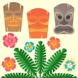 与热带棕榈和木槿的夏威夷面具开花 向量例证