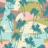 与热带棕榈和艺术性的背景的无缝的异乎寻常的样式 库存图片