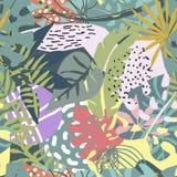 与热带植物和手拉的抽象纹理的传染媒介无缝的样式 向量例证