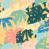 与热带植物和艺术性的背景的无缝的异乎寻常的样式 库存照片