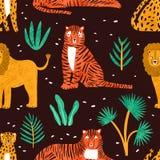 与热带植物滑稽的狮子、老虎、豹子和叶子的幼稚无缝的样式黑暗的背景的 靠山 库存例证