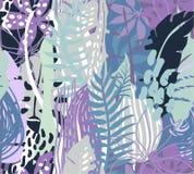 与热带植物的传染媒介无缝的样式 库存例证