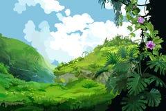 与热带植物的山风景 免版税库存图片