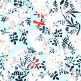 与热带植物的花纹花样 花des的水彩 免版税图库摄影