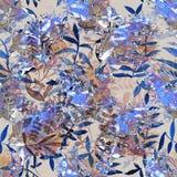 与热带植物的花纹花样 花des的水彩 免版税库存图片