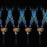 与热带植物的花纹花样 花des的水彩 免版税库存照片
