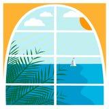 与热带海风景的例证 免版税库存图片