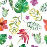 与热带花的无缝的花卉样式,水彩 皇族释放例证