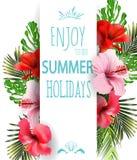 与热带花的暑假背景 向量 皇族释放例证