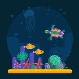 与热带鱼和各种各样的植物的水下的背景 库存照片