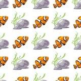 与热带鱼的无缝的样式 免版税库存图片