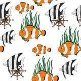 与热带鱼的无缝的样式 库存照片
