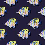 与热带鱼的无缝的逗人喜爱的样式 库存照片