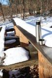 与热水瓶杯子和雪的野餐场面 库存照片