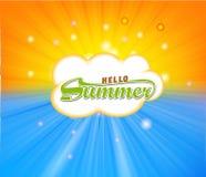 与热的太阳的夏时背景点燃传染媒介例证 免版税库存图片