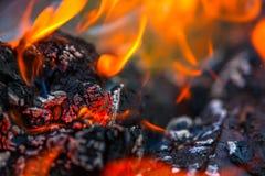 与热的火焰的燃烧的和发光的木炭在背景中 免版税库存图片