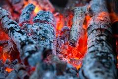 与热的火焰的燃烧的和发光的木炭在背景中 库存照片
