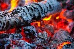 与热的火焰的燃烧的和发光的木炭在背景中 库存图片