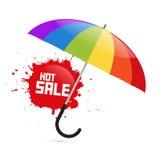 与热的销售飞溅的五颜六色的传染媒介伞例证 库存照片