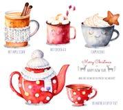 与热的饮料选择的水彩汇集:苹果汁,茶,巧克力,热奶咖啡 向量例证