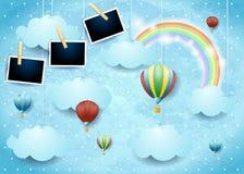 与热空气气球和照片框架的超现实的天空 免版税库存图片