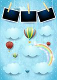 与热空气气球和照片框架的超现实的天空 图库摄影