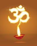 与焕发的Diwali符号Om 图库摄影