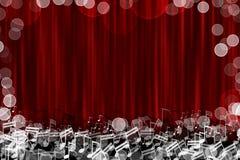 与焕发笔记标志的红色帷幕舞台背景 免版税库存照片