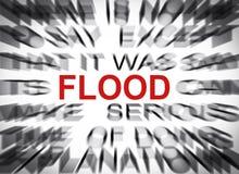 与焦点的Blured文本在洪水 图库摄影