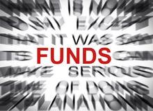 与焦点的Blured文本在资金 免版税库存照片