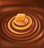 与焦糖漩涡的热巧克力 库存例证