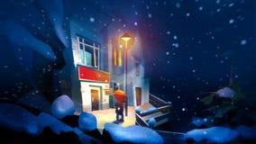 与照明设备和人的被绘的明亮的冬天夜风景 皇族释放例证