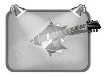 与照明设备和吉他的框架 免版税库存照片
