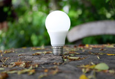 与照明设备的LED电灯泡 库存照片