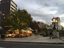 与照明,广岛市,广岛,日本的街道视图 图库摄影