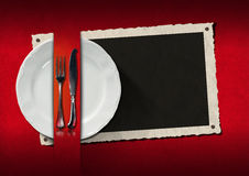 与照片框架的餐馆菜单 免版税库存照片