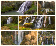 与照片的拼贴画Marmore秋天(Cascata delle Marmore) 图库摄影