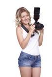 与照相机的妇女射击 图库摄影