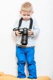 与照相机的小男孩戏剧 免版税图库摄影