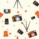 与照相机的无缝的样式 库存照片