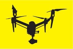 与照相机象传染媒介简单quadrupter的标志的美好的dron,隔绝在黄色 库存例证
