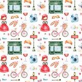 与照相机,唇膏,帽子,自行车,女孩的美好的无缝的样式 向量例证