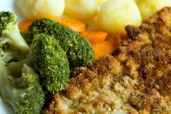 与煮沸的菜、土豆和葱的猪肉炸肉排 奥地利 库存图片
