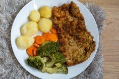 与煮沸的菜、土豆和葱的猪肉炸肉排 奥地利 免版税库存照片