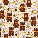 与熊、蜂、花和心脏的逗人喜爱的无缝的样式 向量例证